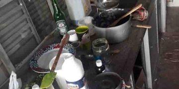 Cômodo onde era feito a manipulação da  droga para a retirada do óleo
